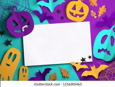 Folded Paper art origami. Purple, Orange and cyan Halloween background with cut out pumpkins, paper bats, ghosts and other decorations with room for text. 3D illustration.