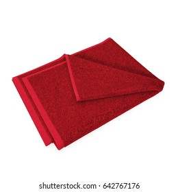 Folded Red Beach Towel, striped cloth set isolated on white. 3D illustration