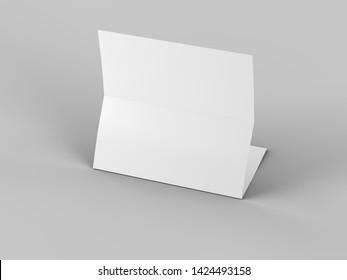 Folded trifold brochure in A4 format mockup.3d illustartion