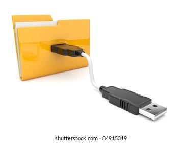 Folder 3d icon. USB connect