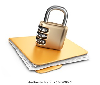 Folder 3D. Secure data concept. Isolated on white background