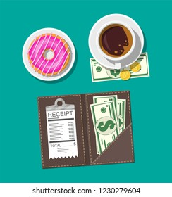 Folder with cash coins and cashier check. Coffee cup, donut. Thanks for the service in the restaurant. Money for servicing. Good feedback about waiter. Gratuity concept. illustration flat style