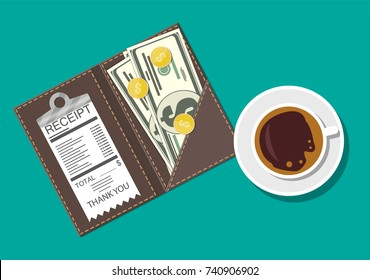 Folder with cash coins and cashier check. Coffee cup. Thanks for the service in the restaurant. Money for servicing. Good feedback about the waiter. Gratuity concept. illustration in flat style