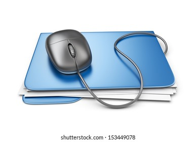 Folder with computer mouse. File storage concept. 3D Isolated