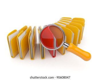 Folder and file search with magnifying glass. 3D isolated on white background