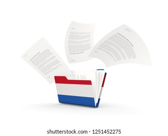 Folder with flag of netherlands and files isolated on white. 3D illustration