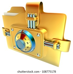folder with golden combination lock stores confidential documents