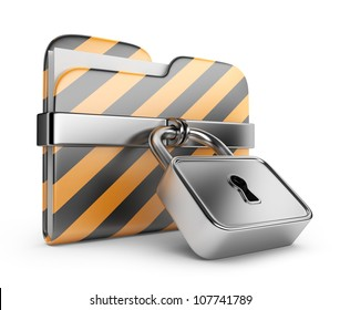 Folder with lock. Data security. 3D Icon isolated on white