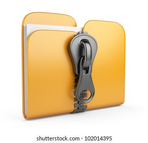 Folder with zip 3D. Compression of data. Isolated on white background