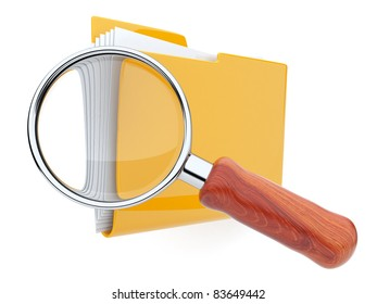 Folders and magnifying glass. File search. 3D