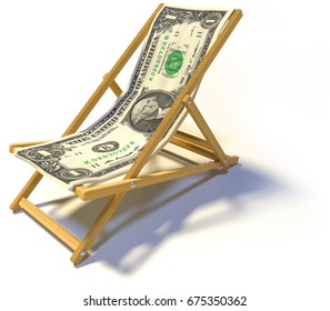 Folding deckchair with one dollar 3D rendering