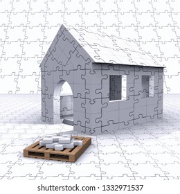 Folding of house with furniture 3D illustration