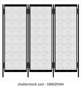 folding screen isolated on white background