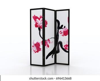 Folding screen Japanese interior furniture isolated on white background 3D illustration