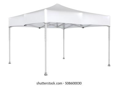 Folding shopping pavilion. 3d image. Isolated on white.