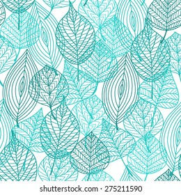 Foliage green tree leaves seamless pattern in outline style. Suitable for wallpaper, tiles and fabric decoration