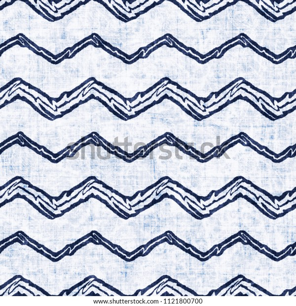 Folk Chevron Bleached Effect Textured Background. Seamless Pattern.