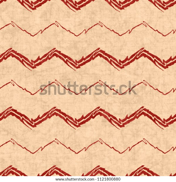 Folk Chevron In Distressed Beige And Rusty Red Colorway. Seamless Pattern.