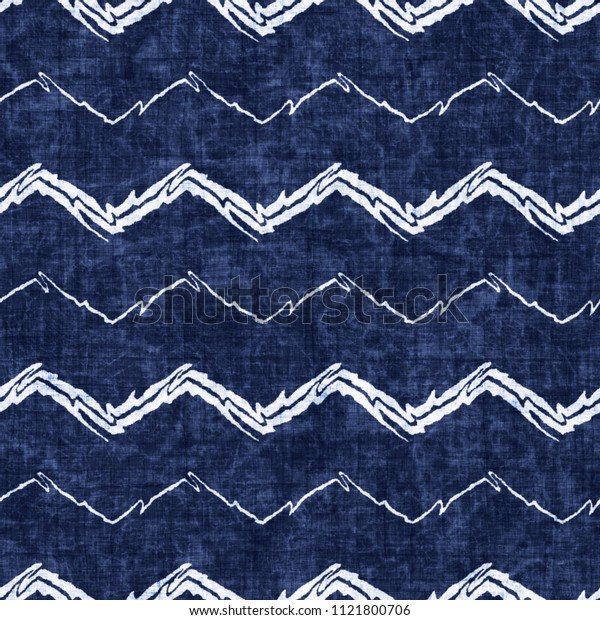 Folk Chevron Indigo-Dyed Effect Textured Background. Seamless Pattern.