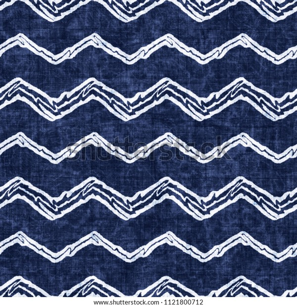 Folk Chevron Indigo-Dyed Effect Textured Background. Seamless Pattern.