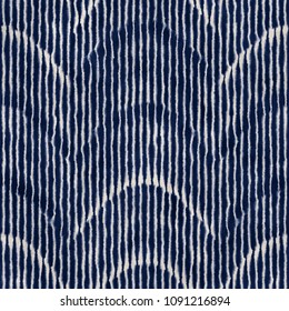 Folk Dyed Wave Stroke Striped Textured Background. Seamless Pattern.