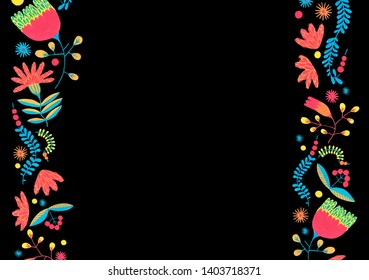 Folk floral border in minimal style with gouache flower elements on black background. Floral frame for wedding card with flower design. Herbal invitation Scandinavian style.