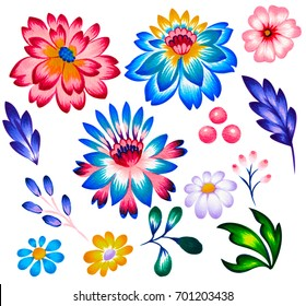 folk flowers for graphic design, Set of beautiful ethnic style floral illustration, many ethnic motifs for design.