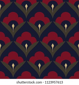Folk flowers motif Japan wave pattern ditzy floral design. Ardent red on a navy blue vintage simple geometric ornament. Minimal print block for interior textile, cloth fabric. Look the same 1342460402