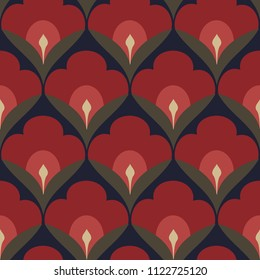 Folk flowers pattern oriental floral motif. Decorative print block for interior textile, fabric, wallpaper, phone case. Simple geometric all over design in blue, green, red. Look the same 1335621020.