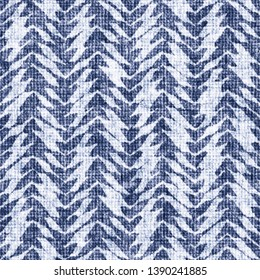 Folk Herringbone Stripes Bleached Canvas Effect Textured Distressed Background. Seamless Pattern.