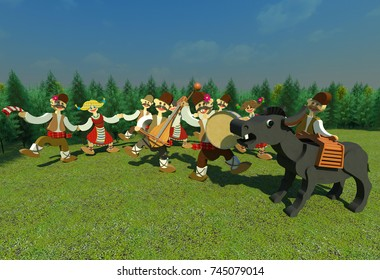 """Folk music 3D illustration composition. Bulgarian traditional folk dance and music, drummer, rebec-player, dancing people, accidental donkey """"singer"""". Collection."""