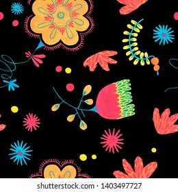 Folk seamless pattern in minimal floral style with gouache flower elements on black background. Bright herbal pattern for scrapbooking, wrapping paper, textile, fabric or ditsy print.
