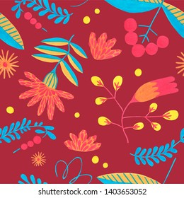 Folk seamless pattern in minimal floral style with gouache flower elements on ruby background. Bright herbal pattern for scrapbooking, wrapping paper, textile, fabric or ditsy print.