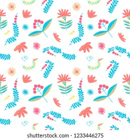 Folklore herbal background seamless flowers pattern. Polish folklore pattern. Herbal ethnic ornament for Eastern European print. Seamless border flower design of the bohemian interior fabric.