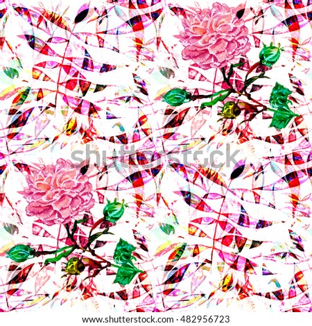 f9b62e38f44133 Folklore surface in style a patchwork.Abstract pattern houndstooth design.  Floral pattern watercolor effect. Textile print for bed linen, jacket, ...