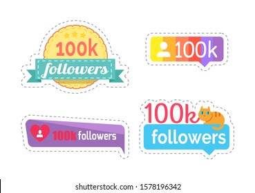 Follow me and followers amount of number stickers set raster. Isolated patches with profile icon and heart sign. Kitten on ribbon banner with text