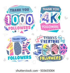 Follow Memphis Banner. Trendy geometric thanks retro Memphis card for social media networks. Pastels color Thank you followers label. 1000, 40K, 5000, 4K  followers.