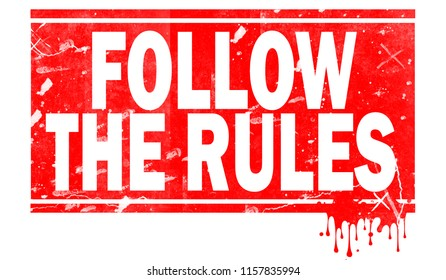 Follow the rules word in red frame, 3D rendering