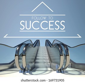 Follow to success concept with stairway to heaven