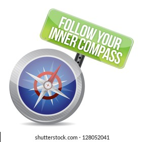 Follow Your Inner Compass success road illustration design over a white background