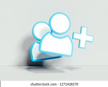 Follower or adding friend white symbol or icon on white background. 3d rendering. Social media concept.