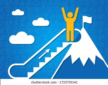 Following dreams and achieving success concept. Person on mountain top and moving staircase, blue background. Illustration