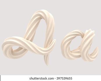 font design of the white cream 3d rendering