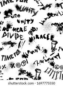 Font graffiti pattern on white
