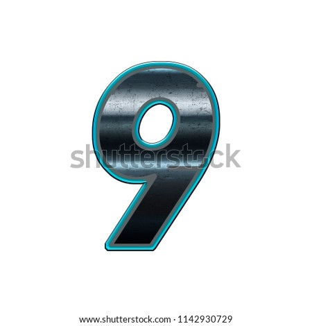 Font Number 9 With Metal And Cyan Light Effect Saved Working Clipping Path Available