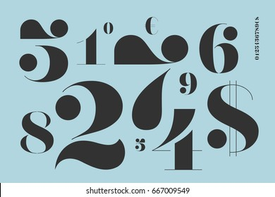 Font of numbers in classical french didot style with contemporary geometric design. Beautiful elegant stencil numeral, dollar and euro symbols. Vintage and retro typographic. Illustration