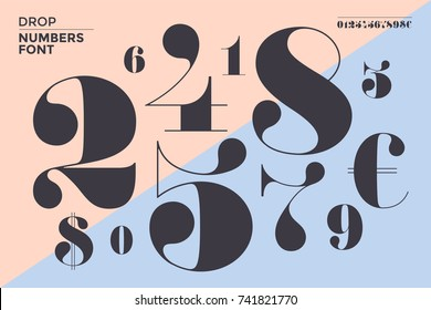 Font of numbers in classical french didot or didone style with contemporary geometric design. Beautiful elegant numeral, dollar and euro symbols. Vintage and retro typographic. Illustration