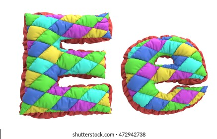 font style colored children's quilted pillows. 3d rendering