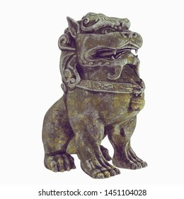 Foo Dog. Sculpture of a traditional Chinese guardian lion. Asian dog. 3d model. Render. Isolated on white background.