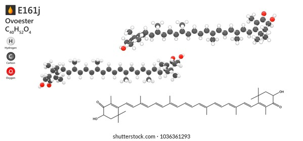 Food additive E161j (colour: red). Astaxanthin (Ovoester) is the main carotenoid pigment found in aquatic animals. 3d illustration. The molecule is represented in different structures.